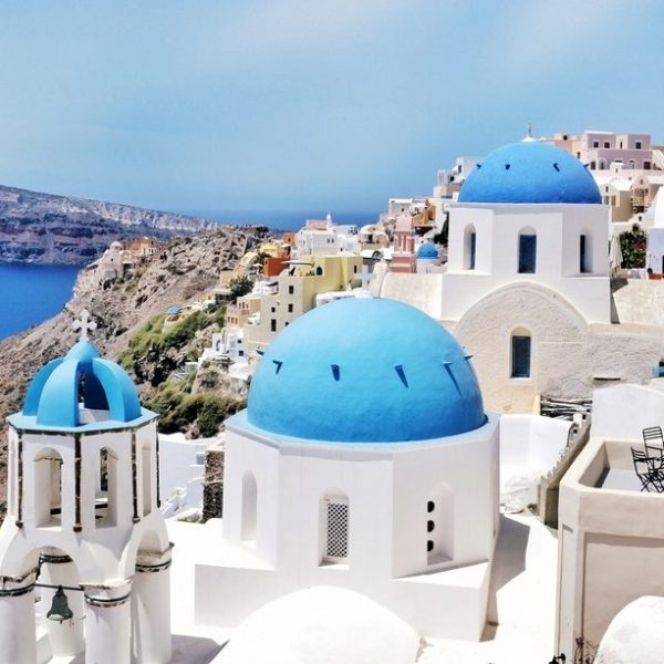 SANTORINI IN BLUE AND WHITE