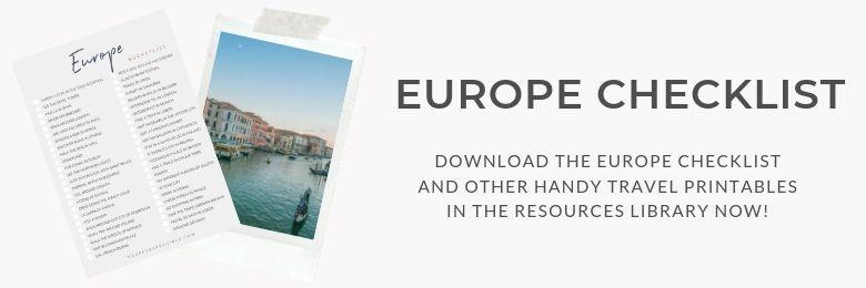 Europe Checklist