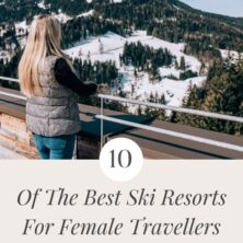 top 10 ski resorts for female travellers pinterest cover