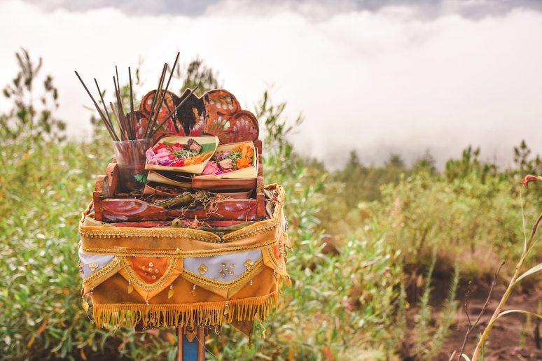 Indonesian Offerings At Top Of Mount Batur Hike In Bali