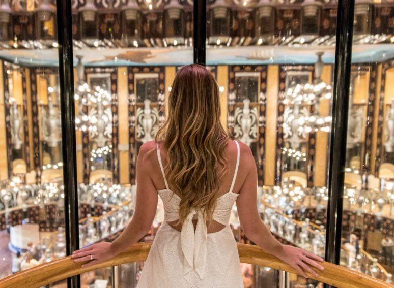 Woman in Elevator in Carnival Legend Cruise Ship