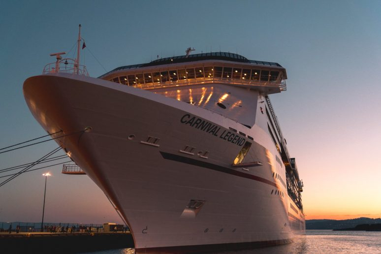 Front of Carnival Legend Cruise Ship in Alaska