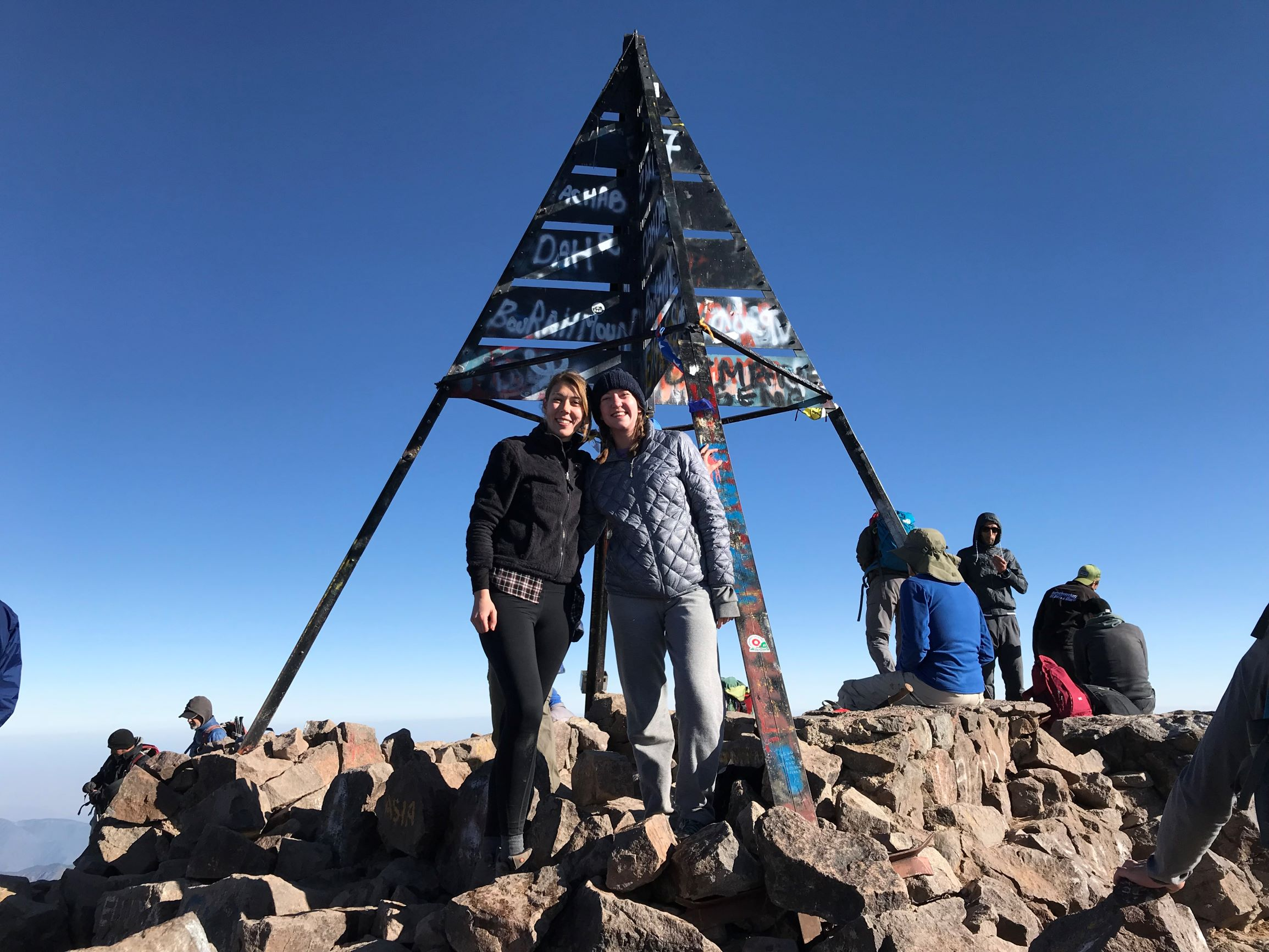 Two Women At Summit of Mount Toubkal