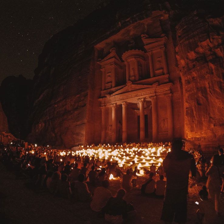 Petra Treasury by Night with Candles