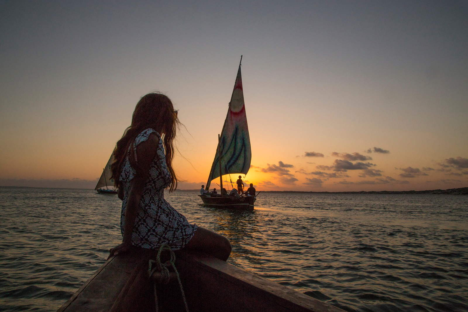 Woman Sailing On A Boat During Sunset on Lamu Island