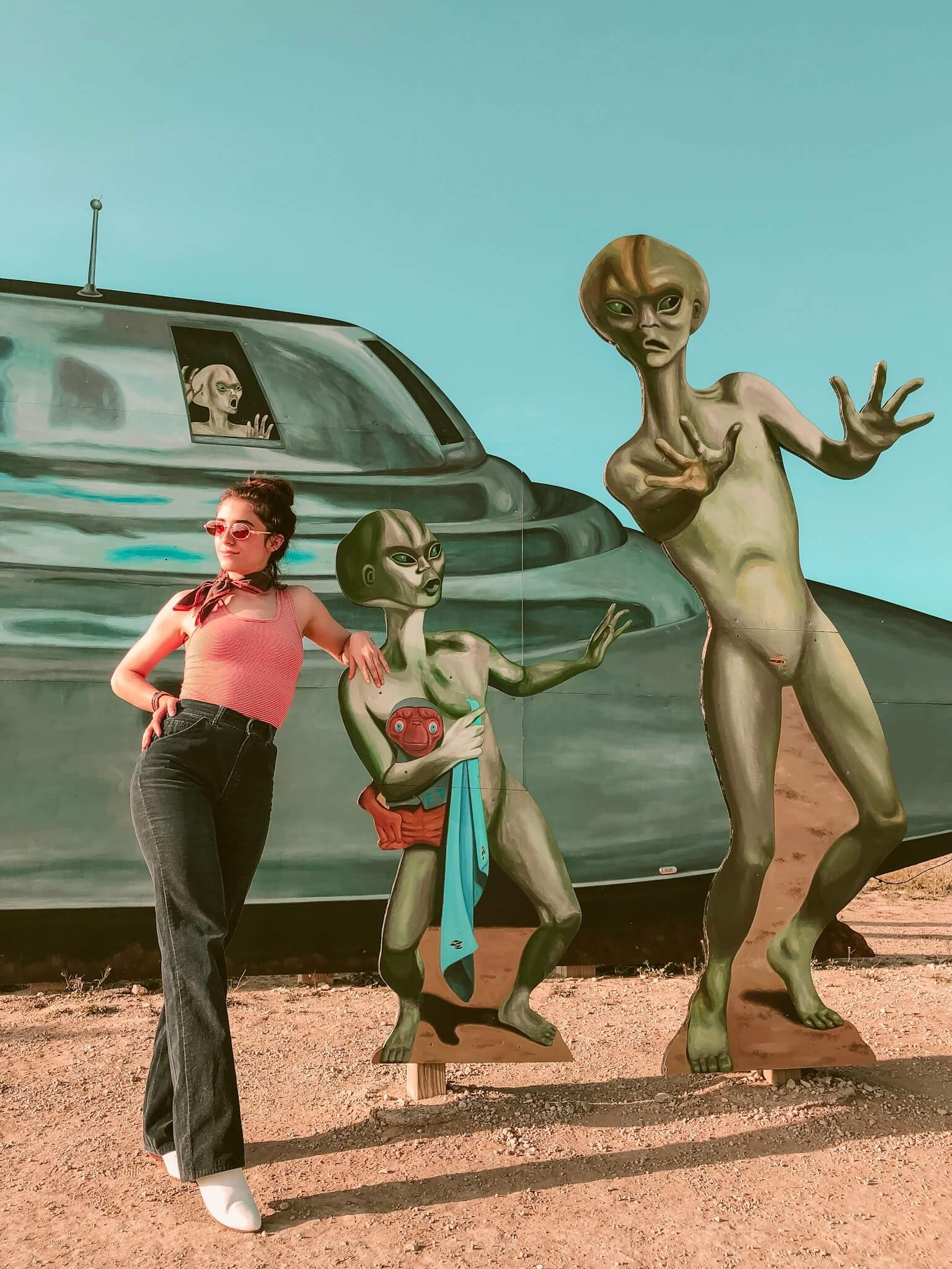 Alien cut outs at Roswell Visitor Center