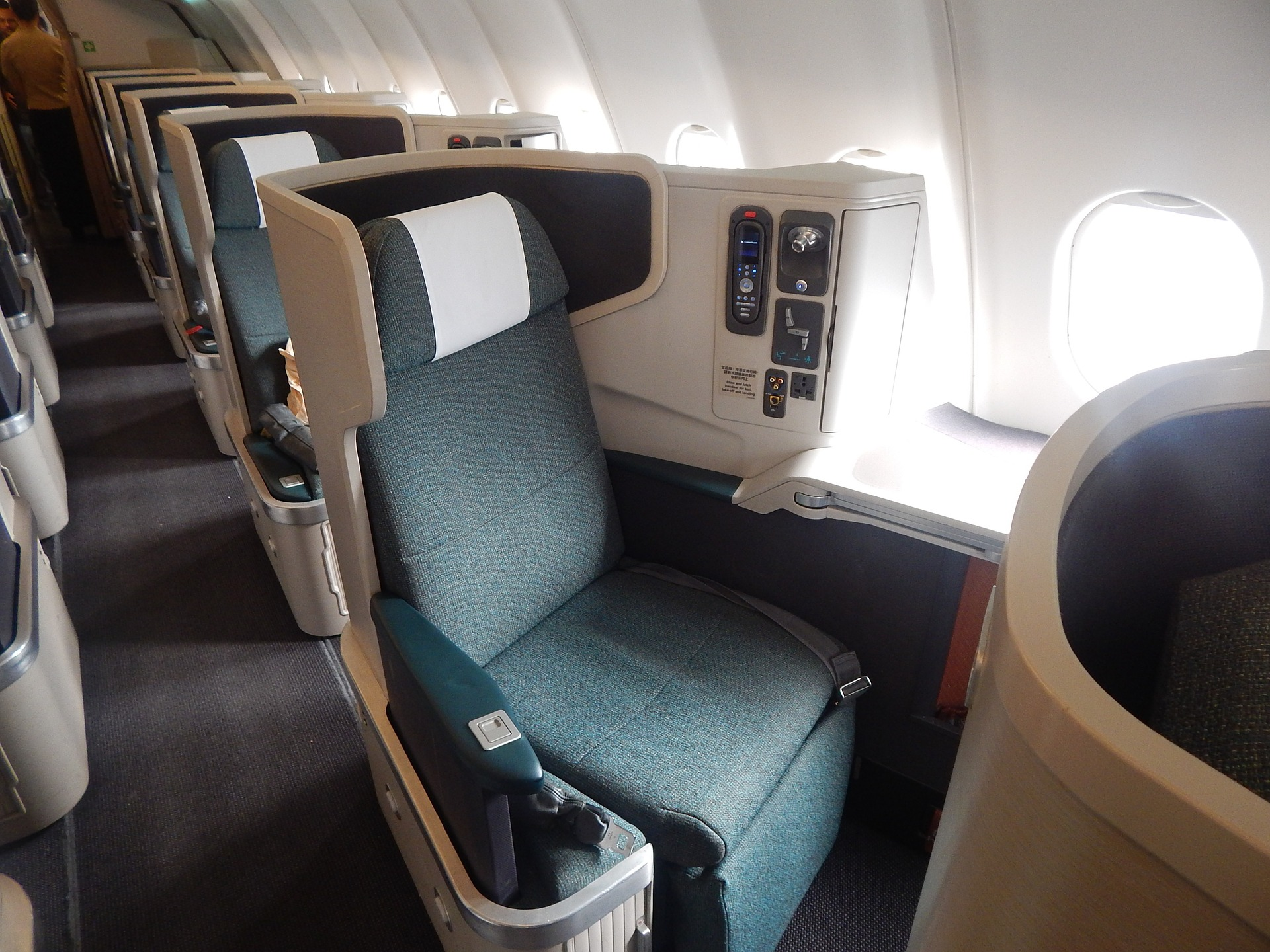 First class seating on airplane