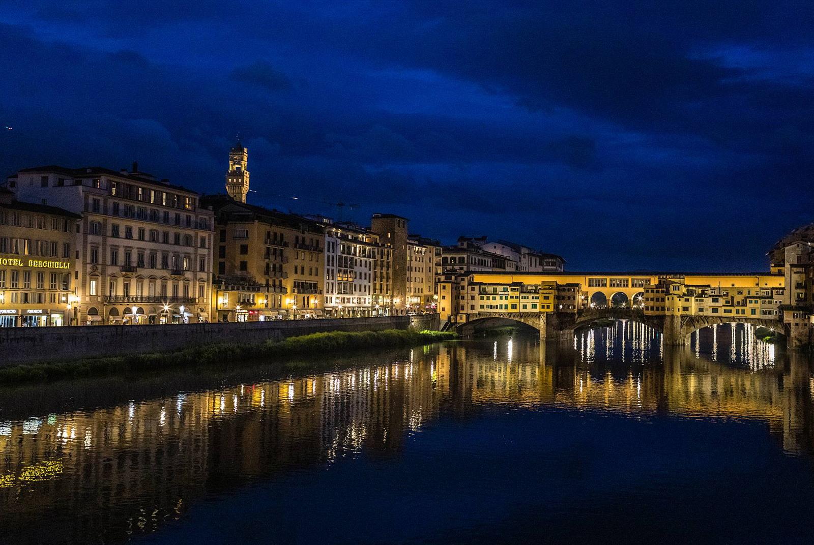 Bridge at night in Florence