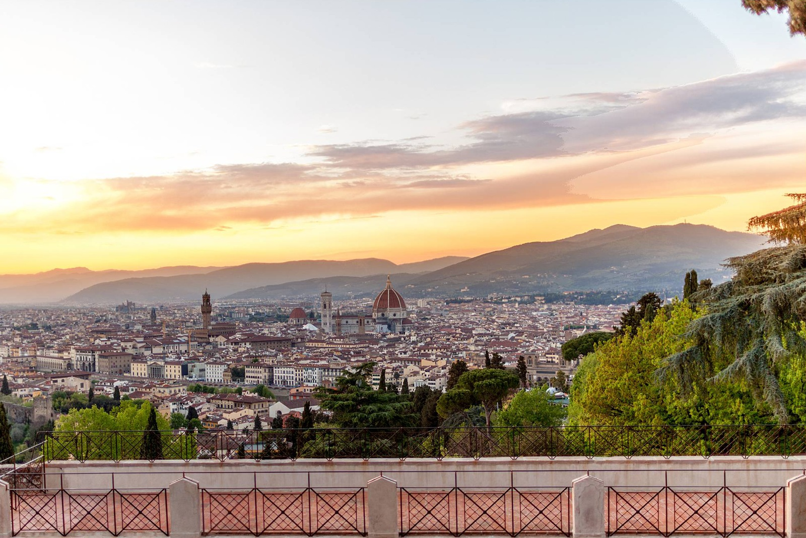 Sunset over Florence city