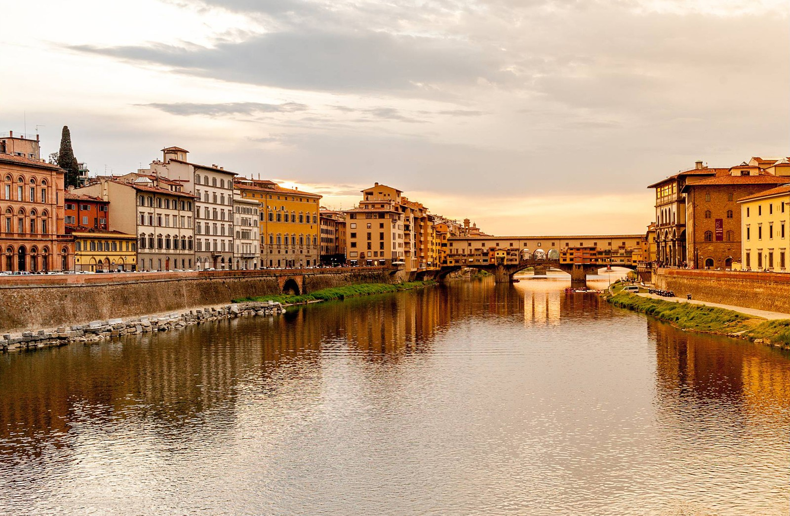Florence Sunset Ponte Vecchio from Ponte alle Grazie