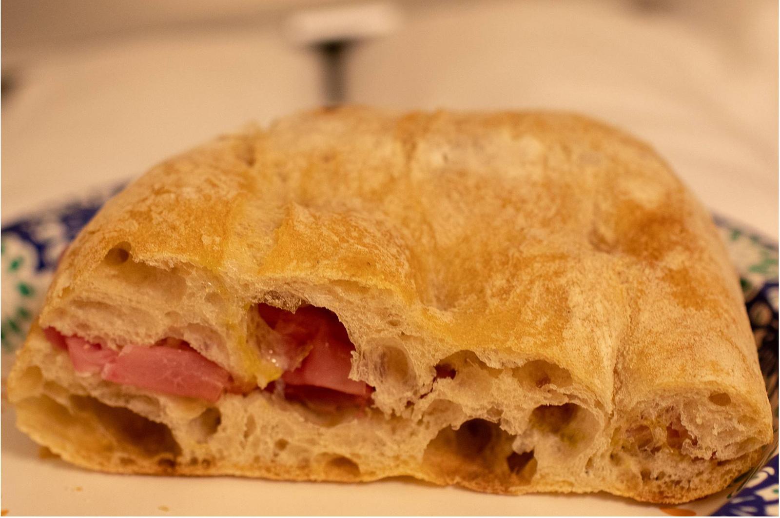 Schiacciata sandwich with meat