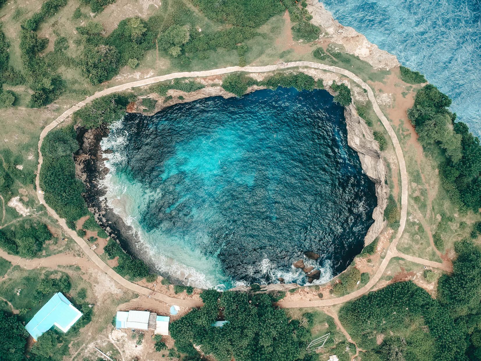 Aerial shot of Broken Beach on Nusa Penida
