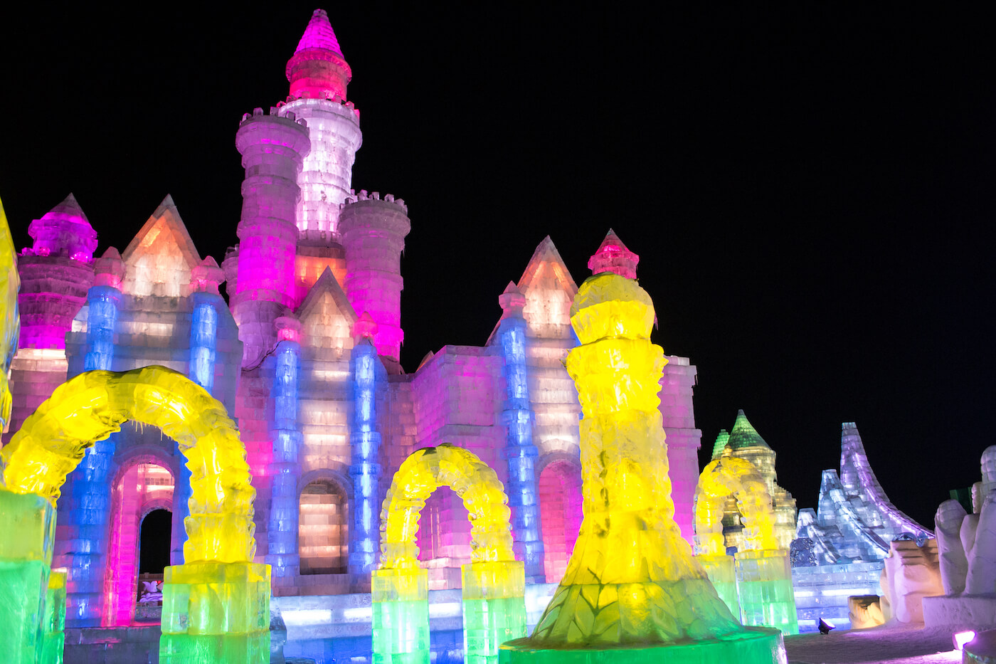 Ice castle at Ice and Snow Festival in Harbin, China