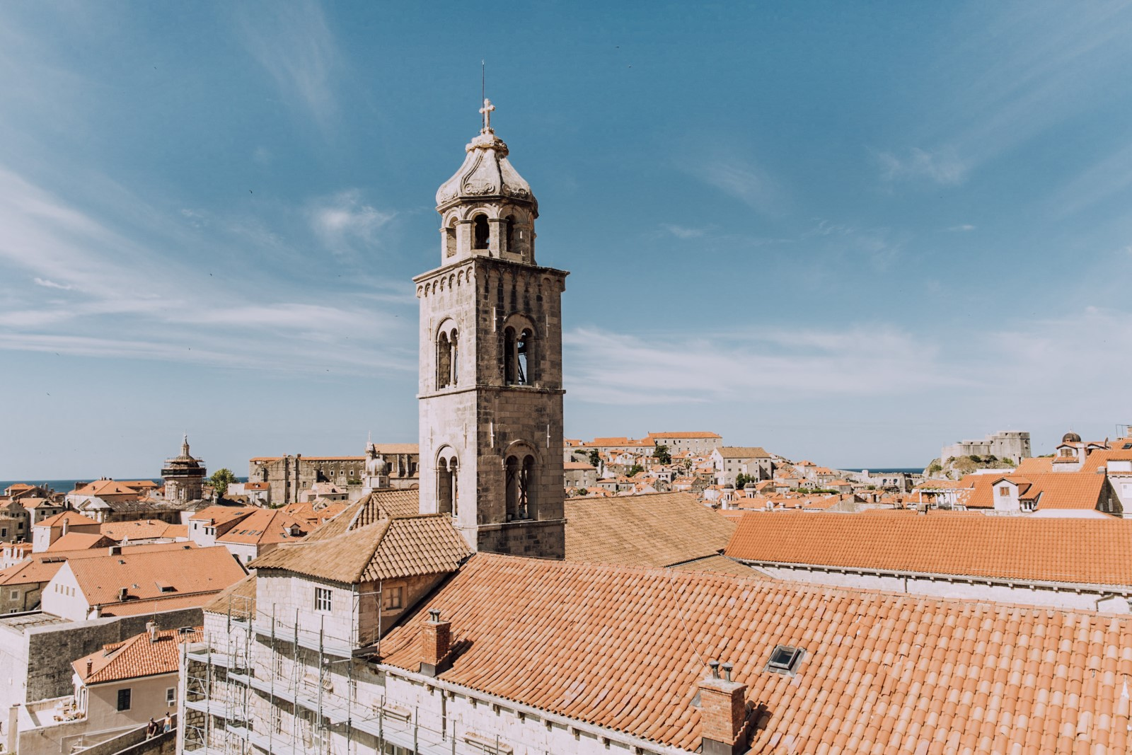 Orange roofs and bell tower in Dubrovnik