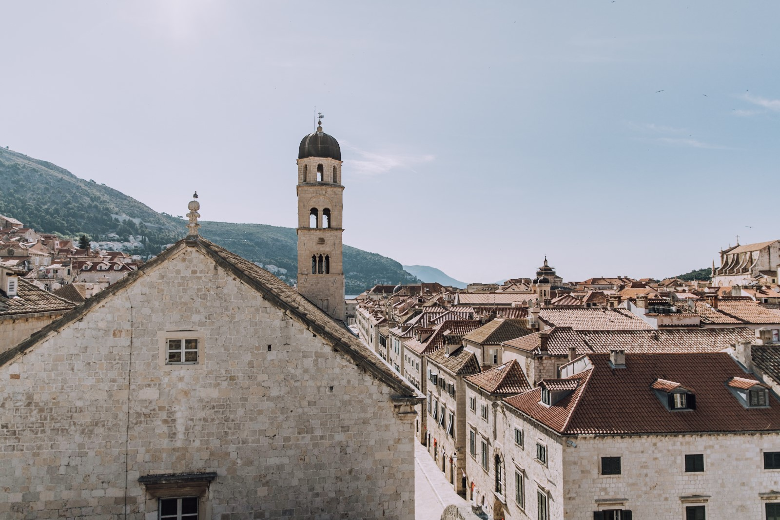 View of street and bell tower in Dubrovnik