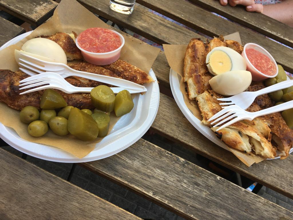 Traditional burekas street food