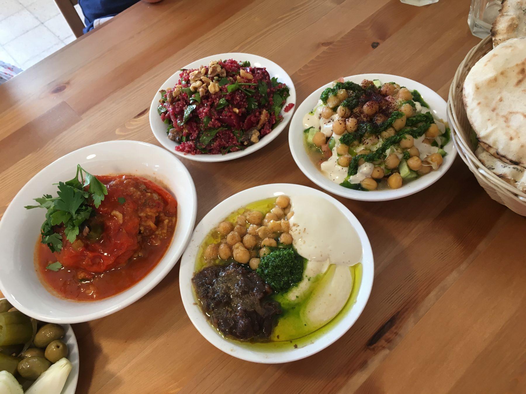 Hummus and salads at Hummus Bardichev
