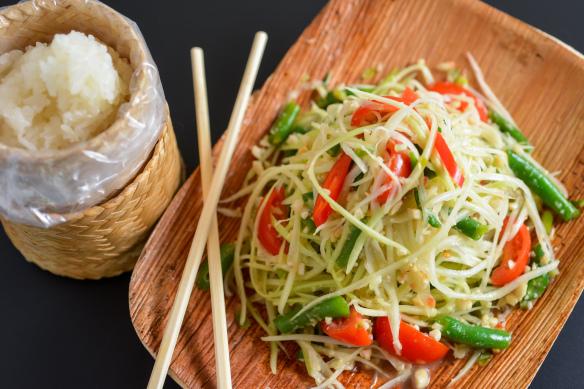 Thai salad and rice at Chang Ba
