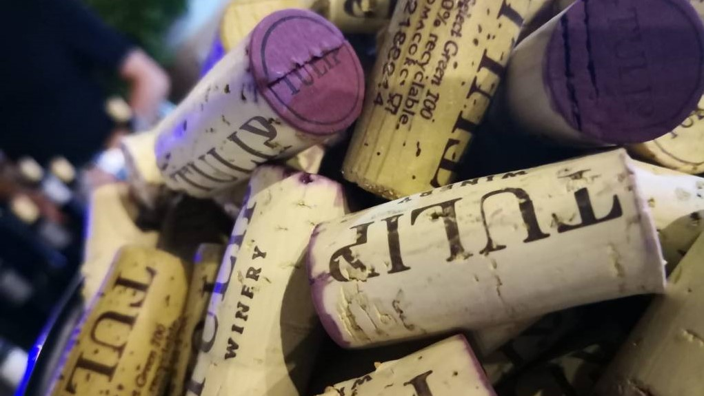 Tulip Winery branded wine corks