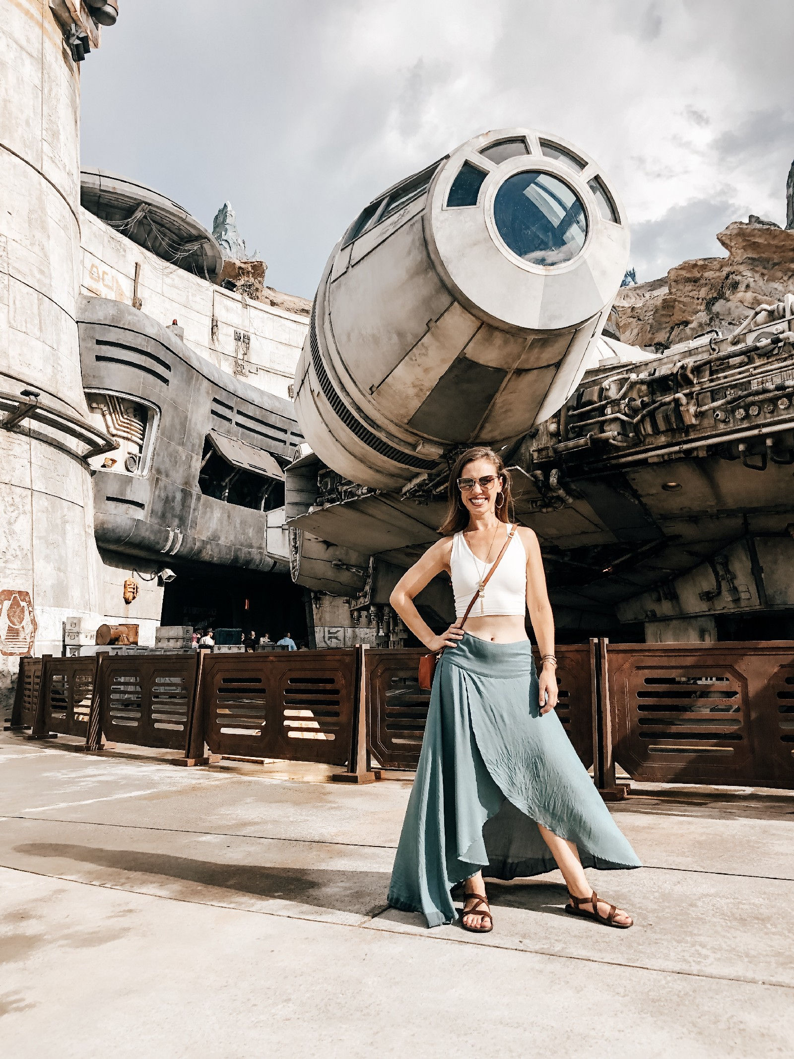 Woman in front of Millenium Falcon