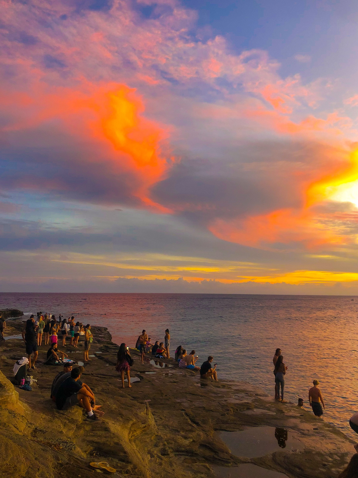 sunset with colorful skies in china walls Oahu