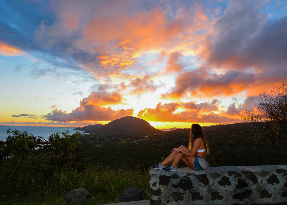 view of the sunset in makapuu